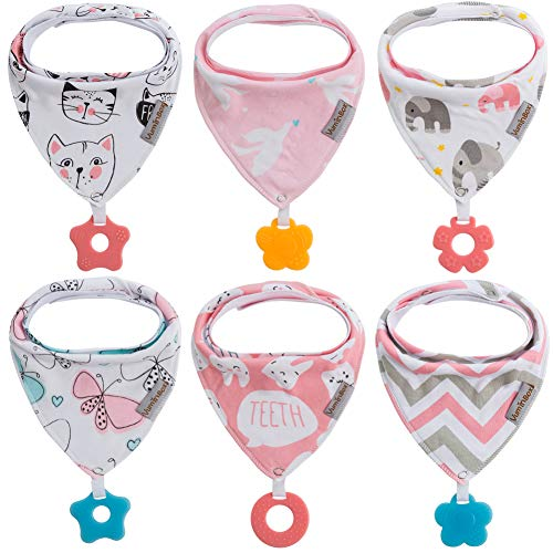 Baby Bandana Drool Bibs 6-Pack and Teething Toys 6-Pack Made with 100% Organic Cotton, Super Absorbent and Soft Unisex (6-Pack Girl)