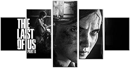 YYZBJAOZ 5 high-definition black and white wall art paintings Ellie The Last of Us Part 2 game poster artwork home decorat...