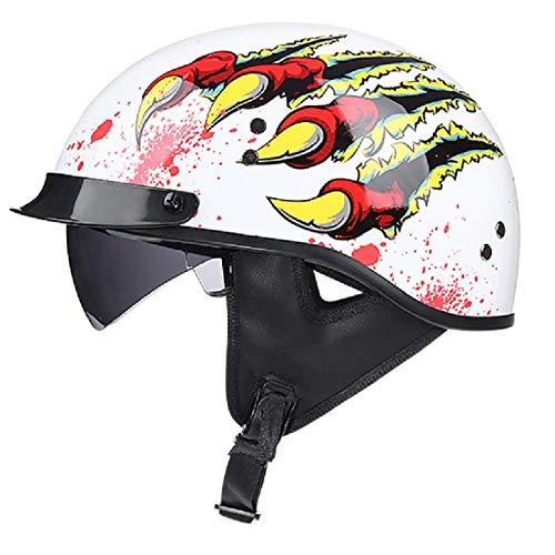 Motorcycle with Sun Visor Helmet Open Face Motorcycle Half Helmet Adult Men and Women Classic Half Shell Helmet for Street Cruiser Scooter Moped Jet Helmet, DOT Approved