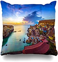 NBTJZT Square 18x18 in Pillow case Colorful Bay Mellieha Malta Skyline View Beautiful Popeye Architecture Attraction Azure Boat Charming Decorative Zippered Cushion Case Home Decor Pillowcase