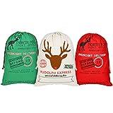 Saco de Navidad grandes bolsas de regalo de Santa con cordón para niños 70 * 50 cm 3 Pack