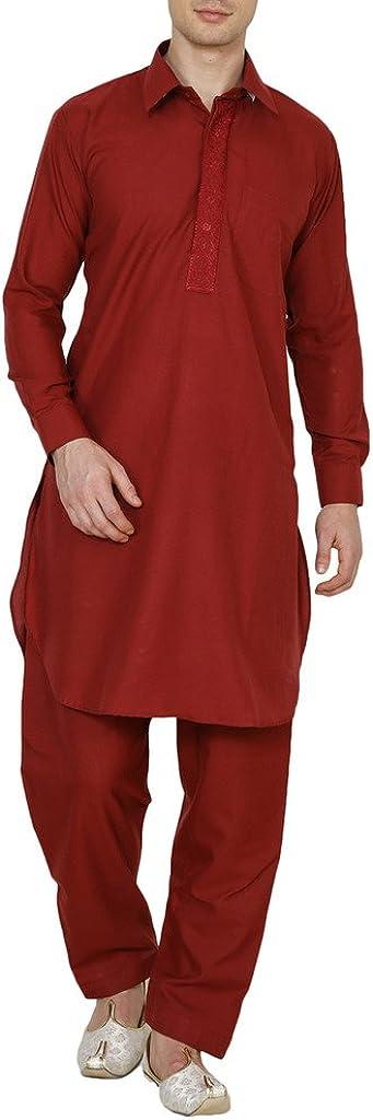 Royal Men's Maroon Tericott Standard Pathani Suit Salwar Set by Kurta