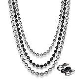 CNYMANY - Cadena de bolas de acero inoxidable de 9 m con 40 conectores a juego, cadena de bolas de plata de 4,8 m de 2,4 mm, cadena de bola negra de 2,4 mm, cadena de bolas de plata de 2 m