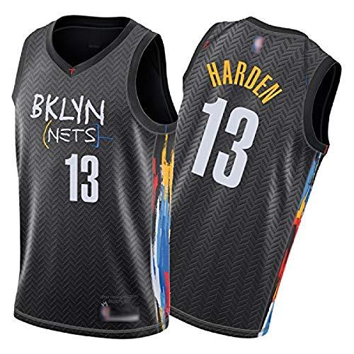 Hombres Jersey Nets 13# Harden, 2021 City Edition Camiseta de Baloncesto Camiseta Chaleco Pantalones Cortos Deportivos Negros XL Jersey