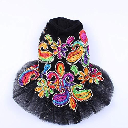 3°Amy Haustier Hund Brautkleider Blumen Spitze Böhmen-Art-Katze-Welpen-Prinzessin-Partei-Kleid-Kleid 5 Größen (Color : Black, Size : XL)