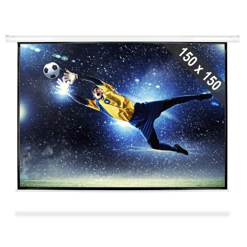 FrontStage PSBB-80 - Beamer Leinwand, Projektor Leinwand, Heimkino Leinwand, 150 x 150 cm, Bilddiagonale 203 cm, 80 Zoll, Format 1:1, einfache Montage, Robustes Metallgehäuse, weiß