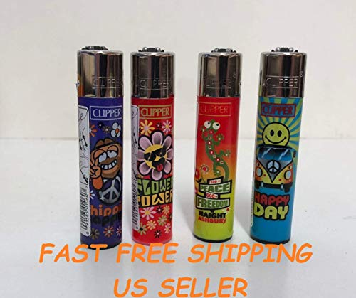 4 Clipper Lighters Refillable Peace Freedom Happy...