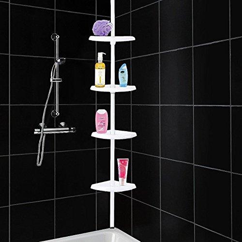 ALBERT AUSTIN Shower Caddy, 4 Shelves Telescopic Corner Shower Shelf, Rust Proof Shower Organiser, No Drill Hanging Shower Caddy and Shampoo Holder