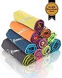 NirvanaShape ® - Asciugamano da viaggio in microfibra, compatto, leggero, ad asciugatura rapida, asciugamano da bagno per viaggi, spiaggia, campeggio, Micro fibra, Giallo/bordo viola., 50 x 30 cm