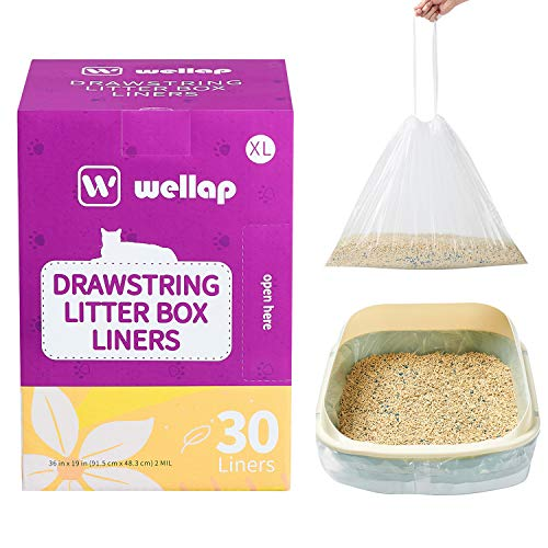 """wellap Cat Litter Box Liners 30 Count Jumbo Extra Durable (36"""" x 19"""") Drawstring Kitty Litter Bags (Transparent Scented)"""