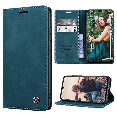 RuiPower Kompatibel für Huawei P Smart 2019/ Honor 10 Lite Hülle Premium Leder PU Handyhülle Flip Hülle Wallet Lederhülle Klapphülle Klappbar Silikon Schutzhülle für Huawei P Smart 2019 - Blaugrün