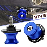 2pcs Diabolos M6 Tornillos CNC Aluminio para Yamaha MT-03 MT03 2003-2019(Azul)