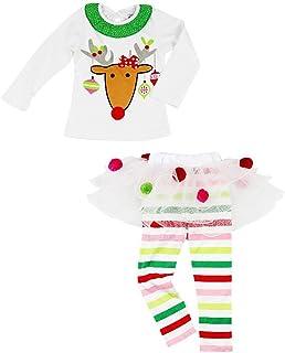 4b649174662ac Carolilly Ensemble Noël Bébé Fille Tutu Jupe Pantalon Rayé et T-Shirt avec  Cerf Imprimé