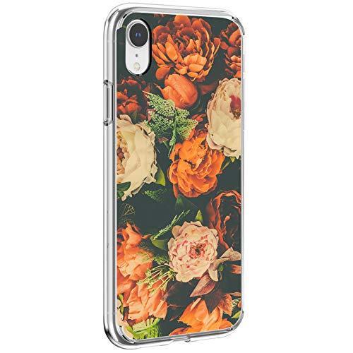 SGKITM Carcasa iPhone XR Funda Transparente Suave Silicona TPU Estuche Flor Hoja Paisaje Patrón Case Clear Ultra Delgado Gel Anti Choque Proteccion Caja para Apple iPhone XR 6.1' (1)