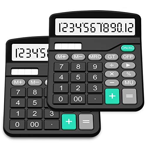 SPLAKS Taschenrechner 2 Pack 12-stellig Standard Funktion Tischrechner Bürorechner Rechenmaschine Solar- und AA Batterie betrieb Calculator mit großem Display (2er Schwarz)