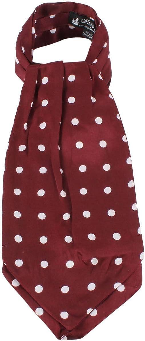 Knightsbridge Neckwear Mens Polka Dot Silk Cravat - Wine/White