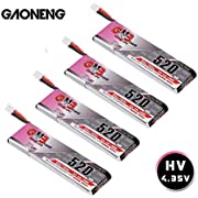 4pcs GNB 520mAh 1S LiPo Battery 80C HV 3.8v LiHV Battery JST-PH2.0 Connector Upgraded for Inductrix FPV Plus EMAX Tinyhawk Micro FPV Racing Drone etc