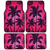 BDK Palm Tree California Design Carpet Car Floor Mats for Auto Van Truck SUV-4 Pieces Front & Rear Full Set with Rubber Backing-Universal Fit