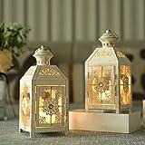 JHY DESIGN Lot de 2 laternes décoratives 23 cm Haute Lanterne Suspendue de Style Vintage, bougeoir en métal pour intérieur extérieur, événements, parités et Mariages (Blanc avec Pinceau doré)