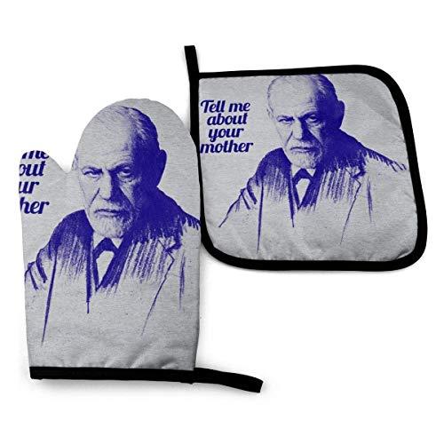 Limat Tell Me About Your Mother Sigmund Freud Ofenhandschuhe und Topflappen, hitzebeständig, Küchenhandschuhe