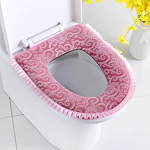 Wuke Tree verdikte waterdichte wc-bril kussen, stretchable printen en verven luxe stoel kussen, algemeen zacht en warm toilet stoel kussen roze