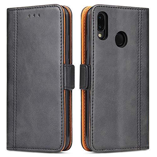 Bozon Huawei P20 Lite Hülle, Leder Tasche Handyhülle für Huawei P20 Lite Schutzhülle Flip Wallet mit Ständer und Kartenfächer/Magnetverschluss (Schwarz-Grau)