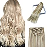 15In Ash Blonde with Bleach Blonde Clip In Hair Extensions 8A Grade Ombre Full Head Long Straight 100% Human Hair In Extensions 70g7PCS(15In#18p613)