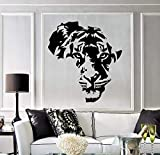 jtxqe Fotos Pared Decoracion Calcomanía de Vinilo Tiger Animal Africa Mapa Muebles Sala de Estar Etiqueta de la Pared Mural Decorativo Mapa Etiqueta de la Pared 57x63cm