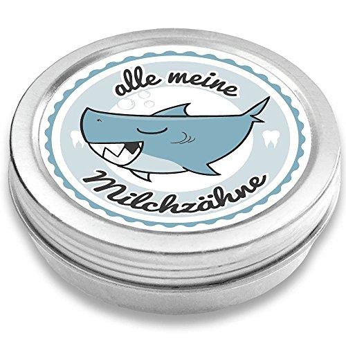 FANS & Friends Milchzahndose Jungen & Mädchen, Hai, mit Gratis e-Book, Zahnfee Geschenke Jungen, Dose für Milchzähne, Zahndose Milchzähne Jungen