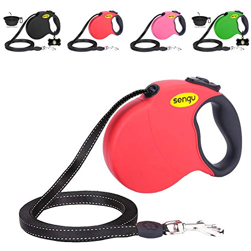 Retractable Dog Leash 16ft Strong Durable Walking Leash Large Medium Small Dogs 110lbs Comfortable AntiSlip Handle Reflective Ribbon Cord One Hand Operation YujueShop