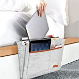 AWASBO Bedside Caddy, Felt Bedside Storage Organizer, Sofa Table Cabinet Hanging Storage Pocket for Tablet Pad, Phone, Magazine Books, Remote Holder, Chargers and More Small Something 9.8'' x 12.6''