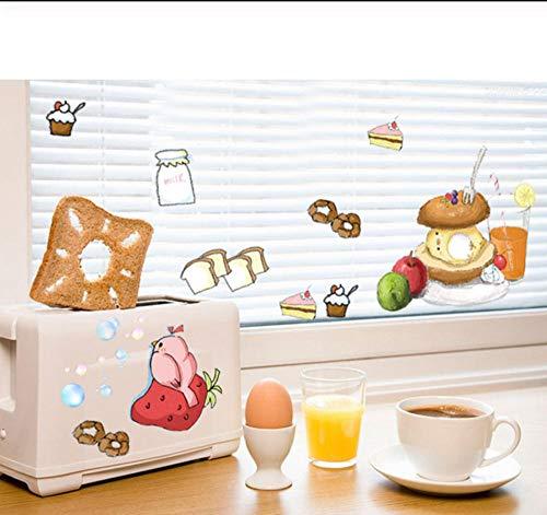 sufengshop DIY Home Decor Nutritious Ontbijt Melk Cake Voedsel Muurstickers voor Keuken Koelkast Tegel Decoratieve