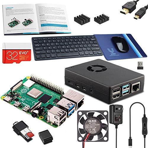 Vilros Raspberry PI 4 Modell B Komplett-Set mit Tastatur und Maus (8 GB, schwarzes Gehäuse)