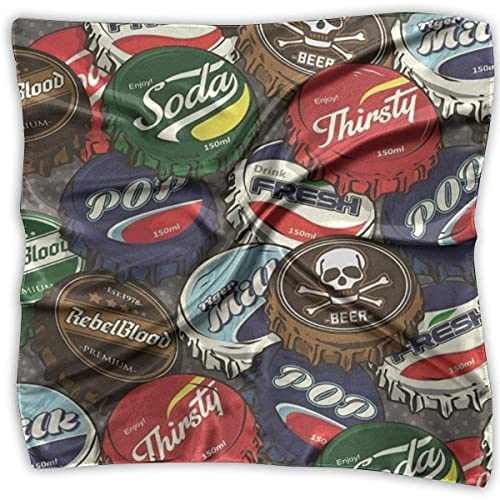 Uridy Tapas de botellas de bebidas Pañuelo cuadrado de moda para mujer Bufanda de cuello suave