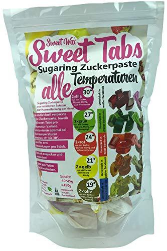 Sweet Wax Sweet Tabs alle Temperaturen - alle fünf Konsistenzen - Das perfekte, Enthaarungs Set - Enthaarungswachs aus Sugaring Zuckerpaste -Keine Vliesstreifen oder Erwärmen nötig-10 * 45g =450g