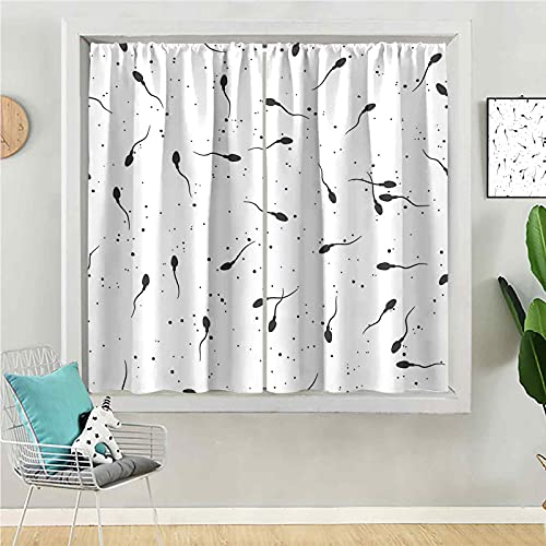 Blackout Curtains for Bedroom 54 inches Long Room Darkening Curtain for Living Room Sperm Microscope View Vector Illustration Seamless Pattern Spermatozoa in Semen