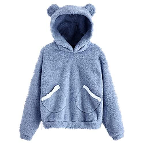 Sudadera de forro polar de manga larga con capucha y orejas de oso difusas para mujer, azul, M