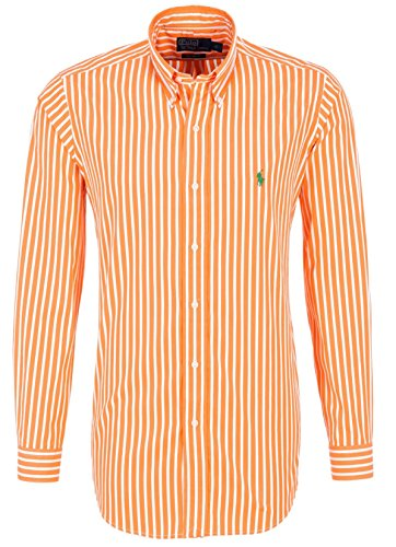 Polo by ralph lauren chemise pour homme orange/blanc rayé, vert pony coupe ajustée - Orange - Medium