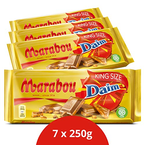 Marabou Daim Schokolade 7 x 250 g – zartschmelzende Milchschokolade mit Mandelkaramellstückchen – einzigartig leckere schwedische Süßigkeit – Daim