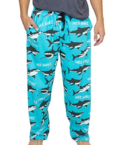 Lazy One Pajama Pants for Men, Men's Separate Bottoms, Lounge Pants, Animal, Ocean (Wide Awake Shark, Large)
