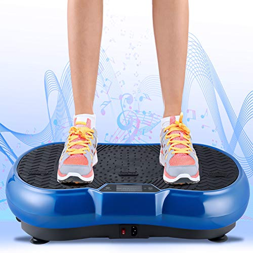 EVOLAND Vibrationsgeräte Fitness 3D Vibration, Vibrationsplattform mit 3 Vibrationszonen | 5 Programme, LCD Display, Bluetooth Lautsprecher, und Fernbedienung, Fitnesstraining für Zuhause