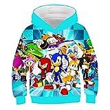 Sudadera con capucha unisex para niños con diseño de erizo sónico, con capucha impresa en 3D, con capucha, para otoño