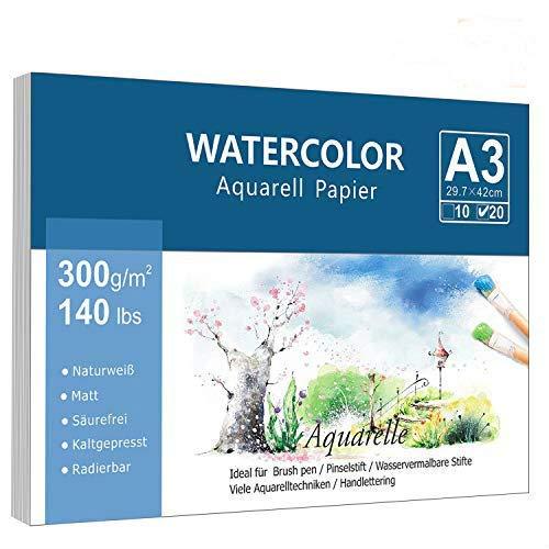 Premium Aquarellpapier (A3, 300 g/m², 20 Einzelne Blätter), Kaltgepresst Glatt Watercolor Paper, Matt Aquarell Papier für Aquarellmalerei Wasserfarben Gouache Acryl & Aquarelltechniken