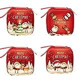 Wsrcxx Bolsas de dulces de Navidad monedero, bolsas decorativas de regalo, mini bolsa de cartera, adornos colgantes para árbol de Navidad, decoraciones de fiesta de Navidad, paquete de 4, Cuadrado