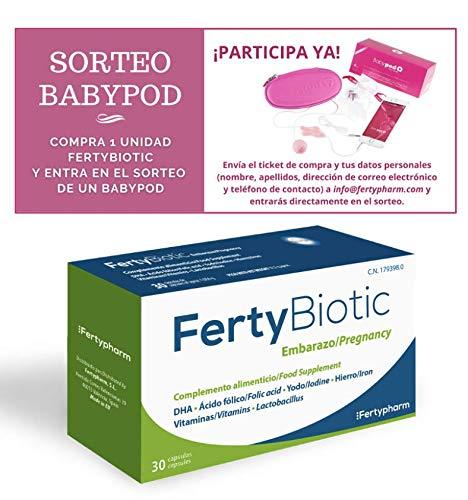 FERTYBIOTIC Embarazo | Complemento Vitamínico Para Embarazo y Lactancia Con Ácido Fólico, Vitaminas, Hierro, Yodo, Magnesio, Zinc, DHA | 30 Cápsulas