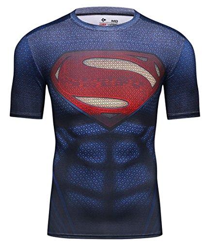 Cody Lundin® Homme T-Shirt de Compression Imprimé, Chemise Manches Courtes Sport Fitness Exercice Running T-Shirt pour Hommes (M, Superhero)