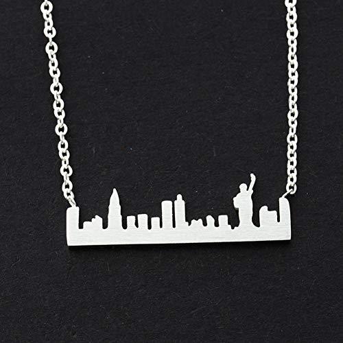 FyaWTM Collar Colgante For Liberty Collares Acero Inoxidable Nueva York Skyline Paisaje Urbano Collar Mujer Joyería Libertad Fe Amigo Idea de Regalo