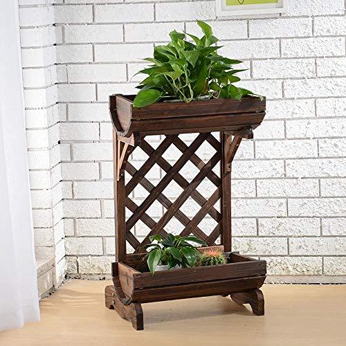 YOULAN-jiaju RUANLAN Hochbeet für Kräuter, Terrasse, erhöhter Blumentopf, Pflanzenständer, Holz-Topf-Regal, Aufbewahrungsregal für den Außenbereich, rustikale Dekoration, 2 Etagen