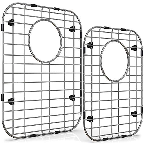 Wexbi Kitchen Sink Protectors for Double Kitchen Sink, Stainless Steel Sink Grid, Set of Two Metal Sink Protector Mat 16 x 13 in, 14.5 x 11.26 in, Grid Sink Bottom Protector with Rear Drain