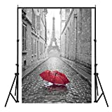 Eiffel Tower Photography Cityscape Backdrops for Wedding Theme Party 5Wx7H ft Red Umbrella in Rainy Paris Street Photo Landmark Photo Studio Background Tourist Attraction Backdrops FT006